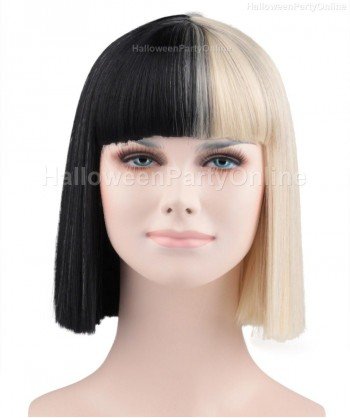 Halloween Party Costume Wig for Australian Singer Black & Blonde Small HW-171