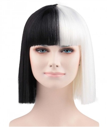 Halloween Party Costume (1-2 Days Dispatch) Wig for Australian Singer Black & White Small HW-172