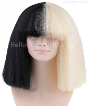 Halloween Party Costume Wig for Australian Singer Black & BlondeLarge HW-173