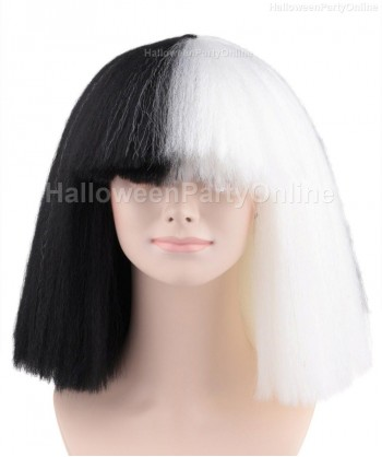 Halloween Party Costume (1-2 Days Dispatch) Wig for Australian Singer Black & White Large HW-174
