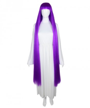 Halloween Party Costume 50-Inch Extra Long Neon Purple Wig HW-1859
