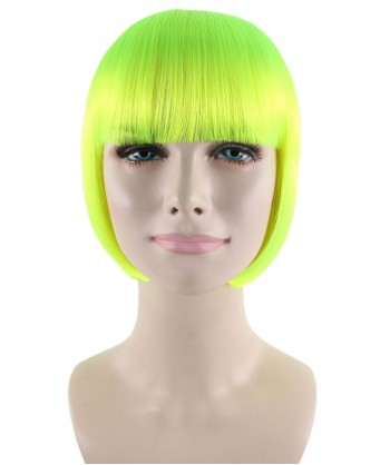 Halloween Party Costume (1-2 Days Dispatch) Classic Flapper Wig, Neon Green HW-187