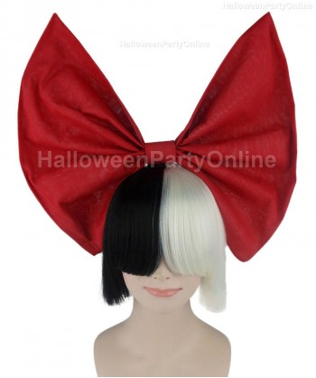 Halloween Party Costume Wig for Australian Singer Black & White Red Bow HW-201
