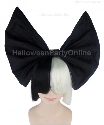 Halloween Party Costume Wig for Australian Singer Black & White Black Bow HW-202