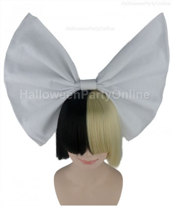 Halloween Party Costume Wig for Australian Singer Black & Blonde White Bow HW-203