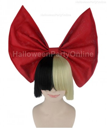 Halloween Party Costume Wig for Australian Singer Black & Blonde Red Bow HW-204
