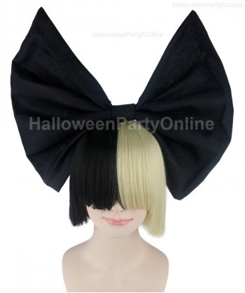 Halloween Party Costume Wig for Australian Singer Black & Blonde Black Bow HW-205
