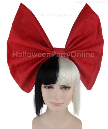 Halloween Party Costume Wig for Australian Singer Black & White Small Red Bow HW-209