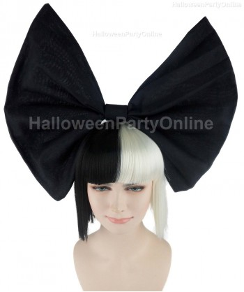 Halloween Party Costume (1-2 days dispatch) Wig for Australian Singer Black & White Small Black Bow HW-210