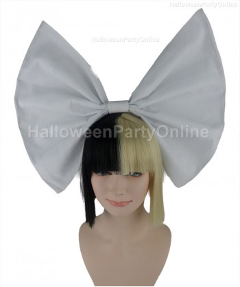 Halloween Party Costume Wig for Australian Singer Black & Blonde Small White Bow HW-211