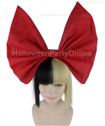 Halloween Party Costume Wig for Australian Singer Black & Blonde Small Red Bow HW-212