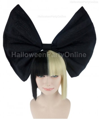 Halloween Party Costume Wig for Australian Singer Black & Blonde Small Black Bow HW-213