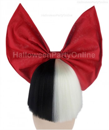 Halloween Party Costume Wig for Australian Singer Black & White Shy Red Bow HW-215
