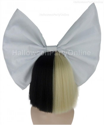Halloween Party Costume Wig for Australian Singer Black & Blonde Shy White Bow HW-217