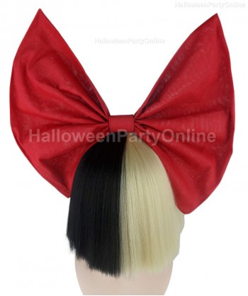 Halloween Party Costume Wig for Australian Singer Black & Blonde Shy Red Bow HW-218