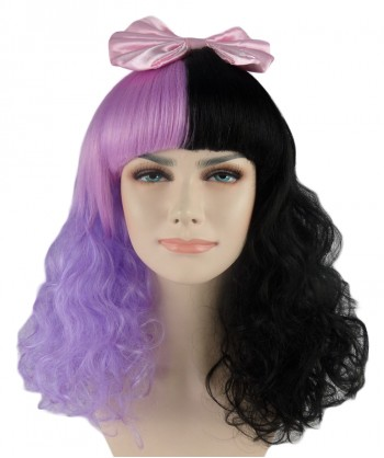 Halloween Party Costume (1-2 days dispatch) EXCLUSIVE! Melanie Dolly Half Purple and Black Curly Wig Pink Bow HW-558