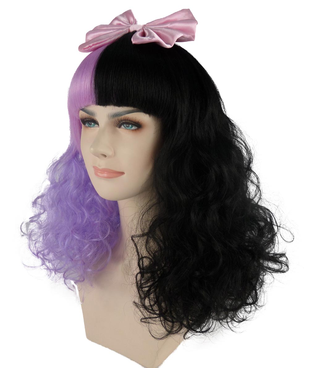 (1-2 days dispatch) EXCLUSIVE! Melanie Dolly Half Purple and Black Curly Wig Pink Bow HW-558