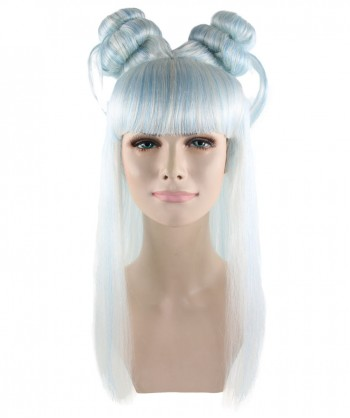 Halloween Party Costume Lt Blue and White Asian Princess Wig HW-834