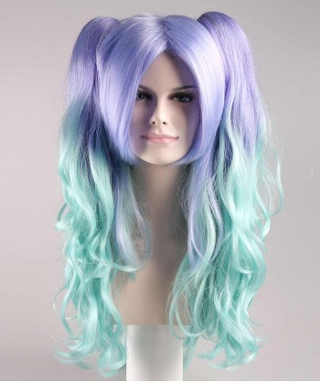 Halloween Party Costume Allure Wavy Purple Blue Wig HW-061