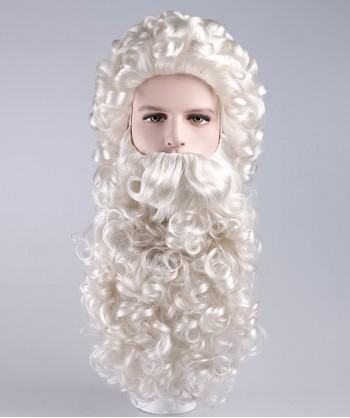 Halloween Party Costume Curly Santa Claus Wig and Beard Set HX-006