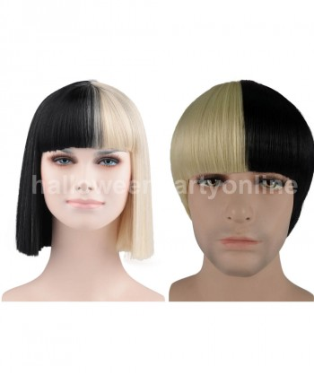 Halloween Party Costume Wig for Australian Singer Black & Blonde Small HW-171 + Wig for Australian Singer Men Black & Blonde HM-063